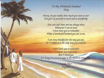Personalized Poem for Husband Anniversary Birthday Valentines Day Gift