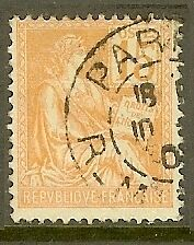 """France Timbre Stamp N°117 """"types Mouchon, Type Ii, 15 C Orange"""" Oblitere Tb"""