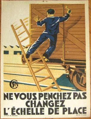Early Litho SNCF French Railroad Train Safety Poster