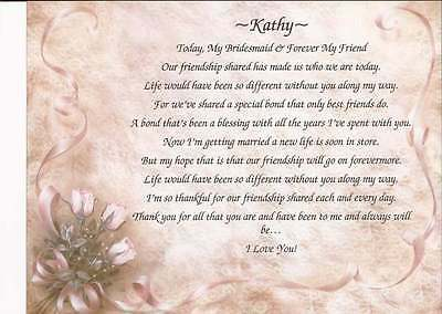 Personalized Poem for Bridesmaid, Maid of Honor, Wedding Party Choose Your Art