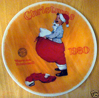 1980 Knowles Collectors Christmas Plate Norman Rockwell Scotty Plays Santa