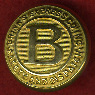 c.1900 antique BRINKS ARMED GUARD police uniform button