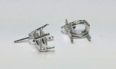 Two Oval Sterling Silver Cast Wire Pre-Notched Earring Settings (5x3-12x10mm)