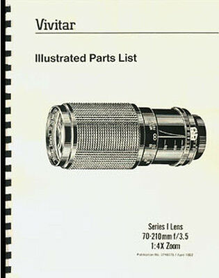 Vivitar Series 1 Lens Parts List w/Exploded Views: 70-210mm F3.5, 2nd Model