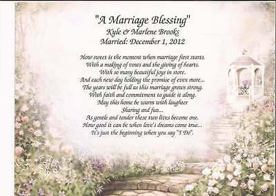 """A Marriage Blessing"" Personalized Poem for Wedding, Anniversary Beautiful Gift"