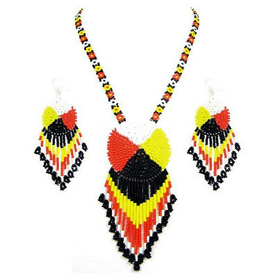 Black Yellow Red Black Seed Beaded Medicine Wheel Necklace Earrings Set