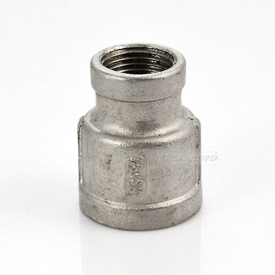"""Nipple 1/2"""" x 3/8"""" Female Stainless Steel 304 Threaded Reducer Pipe Fitting NPT"""