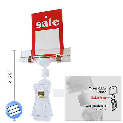 Clip - On Pop Sign Price Ticket Card Display / Holder Ideal For Retail Shops