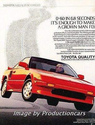 1989 Toyota Mr2 Supercharged Red Vintage Advertisement Ad P36