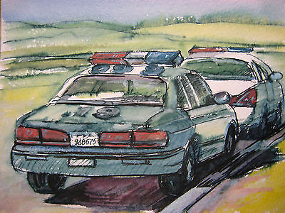 "ORIG ART AMERICAN POLICE CAR FORD CROWN VICTORIA FLASH LIGHTS 5,5""x7,5"" INCHES"