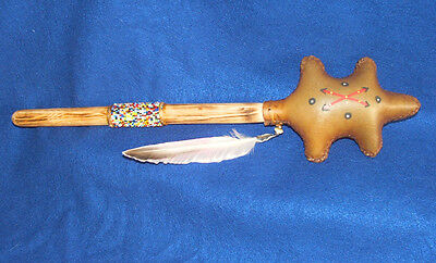 """Navajo Turtle Rawhide Rattle Large 17"""" L  Authentic Native American Indian #04"""