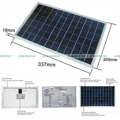 Solar Panel 10 Watt Sun Power - 10W 18V - PV Solar Moduel for 12V Battery Charge