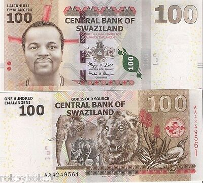 SWAZILAND 100 Emalangeni Banknote World Money Currency Africa Note p39 Bill 2010