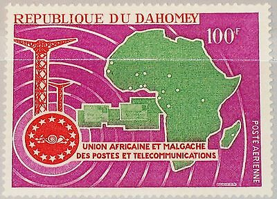 DAHOMEY 1967 328 C61 African Postal Union Post UAMPT Fernmeldeunion Karte MNH
