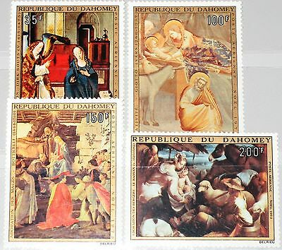 DAHOMEY 1973 544-47 C195-98 Christmas Weihnachten Religion Paintings Gemälde MNH