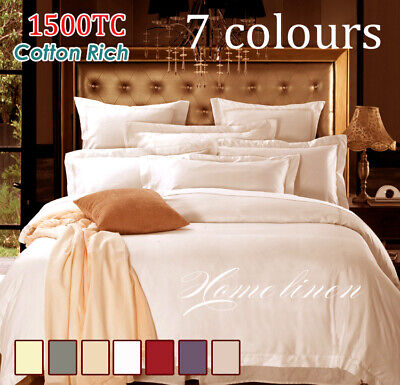 1500TC Hotel Quality Cotton Rich Quilt/Doona Cover Set in Sand/Cream King Size