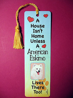 """American Eskimo"" A House Isn't  Home Tassel Bookmark (flag gold tassel) Sku# 38"