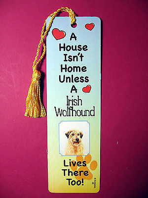 """Irish Wolfhound"" A House Isn't Home - Tassel Bookmark (flaggold tassel) Sku# 59"