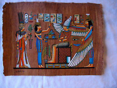 "Egyptian Papyrus Paper Painting Winged Isis Nefertari Antique Looking 9"" X 13"""