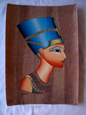 """Egyptian Papyrus Paper Painting Queen Nefertiti Pharaoh Antique Looking 9"""" X 13"""""""
