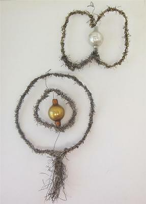 Christmas Antique Ornament Wire Wrapped Hand blown Glass Germany 2pc  Lot A
