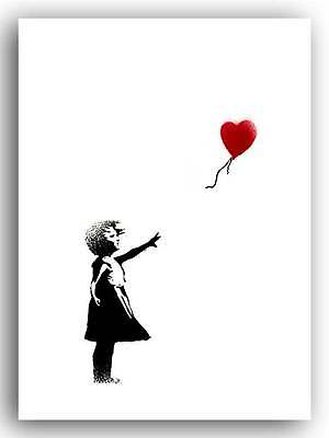 BANKSY- GIRL with Balloon- QUALITY CANVAS PRINT A2 - Street Art Poster -portrait