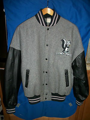 PEPE LePEW JACKET Leather Wool VARSITY Letterman LOONEY TUNES Warner Bros Le PEW