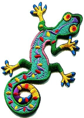 Lizard gekko salamander retro hippie hippy boho 70s applique iron-on patch S-189