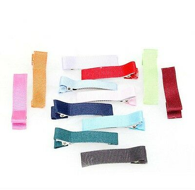 50mm Double Prong Alligator Clips Grossgrain covered Hair Accessories 13 Colors