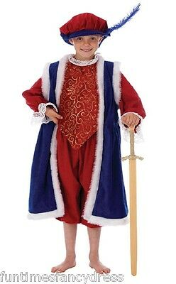 Boy's Deluxe Tudor King Costume Fancy Dress Henry VIII Medieval King 8~10 Years