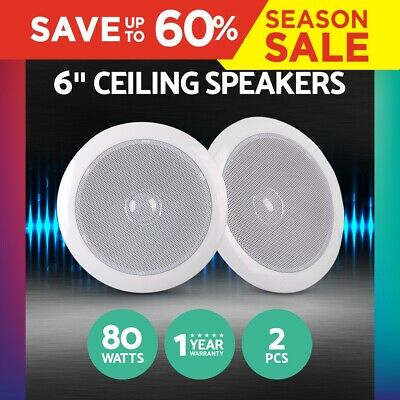 "Giantz 2PCS 6"" Inch Ceiling Speaker 80W Pair Home Theatre Wall Indoor Outdoor"