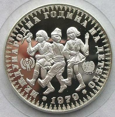 1979 Bulgaria Large silver proof 10 leva Children