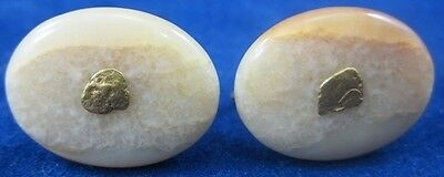 Set Vintage FOSSILIZED EARRINGS Rockhounds GOLD & Petrafied Wood Fossil Pair