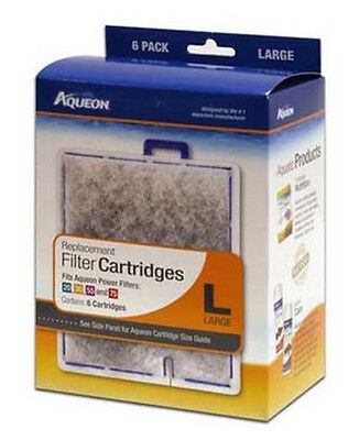 Aqueon Filter Cartridge Large. For Quiet Flow 20.30.50,55 & 75 Filters. 6Pk