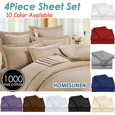 1000TC Egyptian Cotton Bedding Sheet Set 8 Colors King/Queen/Double/Single size