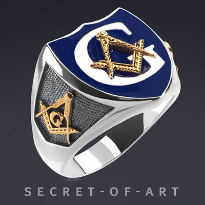 Masonic Police Ring Silver 925 Sterling Ring Blue Enamel, 24K-Gold-Plated Parts