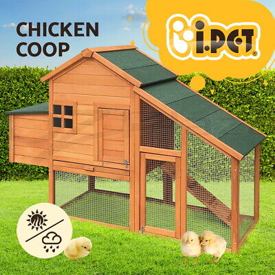 Chicken Coop Rabbit Hutch Wooden Chook House Guinea Pig Ferret Cage w/Tray 171cm