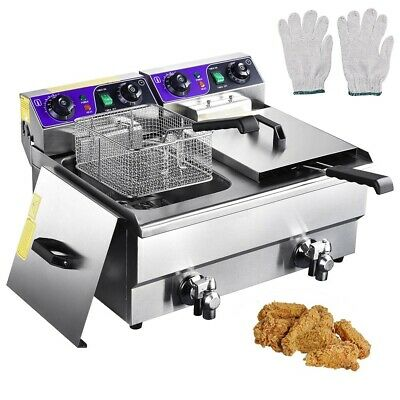 23.4L Commercial Deep Fryer w/ Timer and Drain Fast Food French Frys Electric