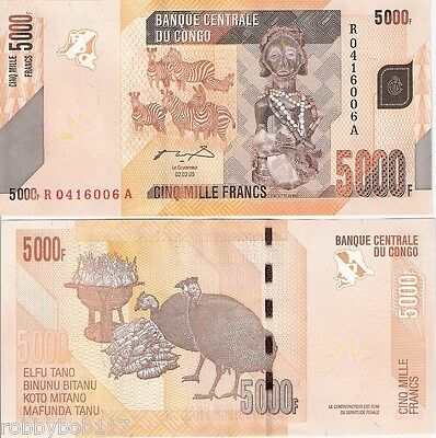 CONGO 5000 Francs Banknote UNC Paper Money: World Pick p102 Zebras & Peafowl
