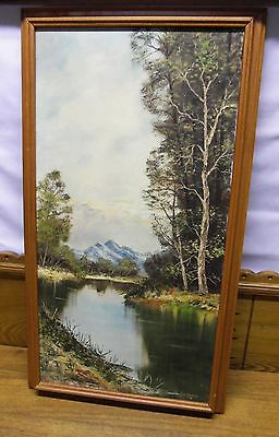 Framed Oil Painting On Canvas - Landscape Stream Trees Mountain - M. Holbrook