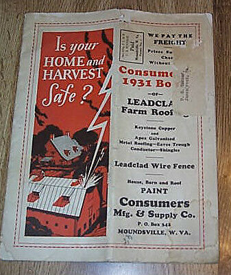 Consumers Mgf & Supply Co 1931 Book Of Leadclad Farm Roofing Catalog PB ILLUS