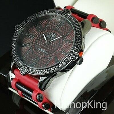 RED/BLACK BLING BEZEL CLASSY HIP HOP MENS WATCH STAINLESS STEEL BACK LOW PRICE