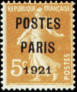 """FRANCE PREOBLITERE TIMBRE STAMP N°27 """"TYPE SEMEUSE, SURCHARGE 5C"""" NEUF xx TTB"""