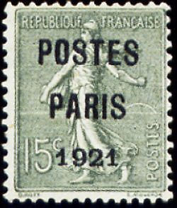 """FRANCE PREOBLITERE TIMBRE STAMP N°28 """"TYPE SEMEUSE, SURCHARGE 15C"""" NEUF x TB"""