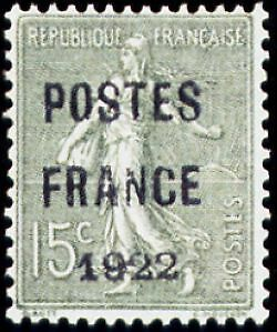 """FRANCE PREOBLITERE TIMBRE STAMP N°37 """"TYPE SEMEUSE, SURCHARGE 15C"""" NEUF x TB"""