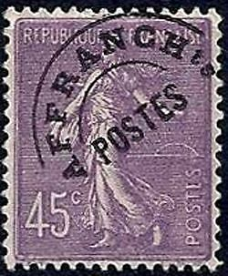 """FRANCE PREOBLITERE TIMBRE STAMP N°46 """"TYPE SEMEUSE 45C VIOLET"""" NEUF x TB"""