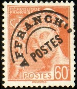 "FRANCE PREOBLITERE TIMBRE STAMP N°83 ""TYPE MERCURE 60c ROUGE ORANGE"" NEUF xx TTB"