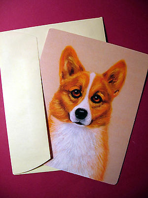 """Pembroke Welsh Corgi"" Single Dog Greeting Card - Blank Note Card - sku# 41"
