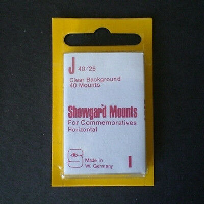 Showgard Stamp Mounts Size J 40/25 CLEAR Background Package of 40