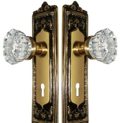 Egg&Dart French Door Crystal Knob Set-Fine Solid Brass-CUSTOM MADE-GUARANTEED